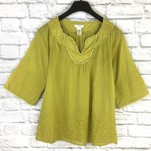 Esley 100% Cotton Embroidered Green Blouse Sz M